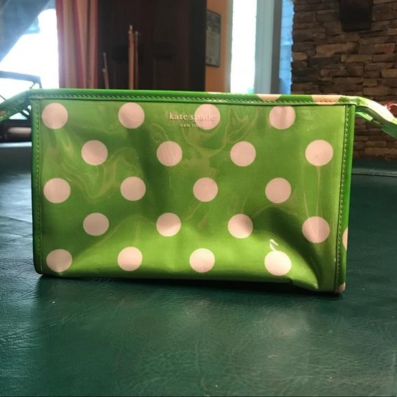 e60a7cd3a6 kate spade Handbags - Kate Spade Green Polka Dot Makeup Bag